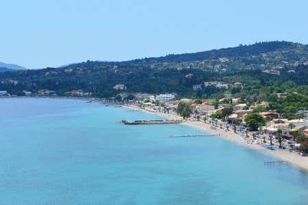 corfu: Beautifull Ipsos beach at Corfu Greece Stock Photo