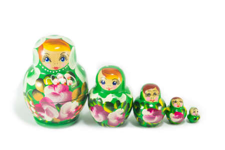 babushka: Russian matrioska babushka dolls isolated on white Stock Photo