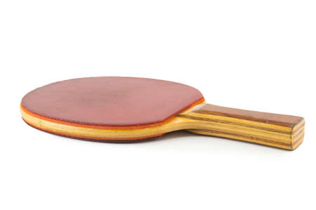 sporting equipment: Old professional red table tennis racket isolated on white
