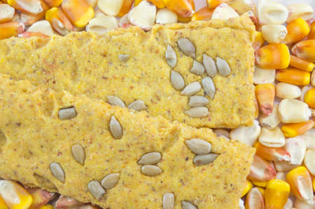 crunchy: Crunchy oat thins with sunflower surrounded with dried corn grains