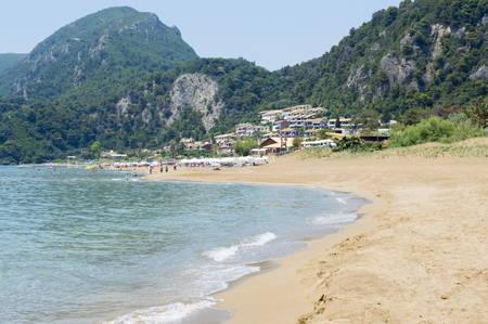 Glyfada Beach at Corfu Greecee during the day