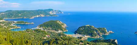 gorgeus: Panoramic view at gorgeus Paleokastrica bay at Corfu Greece Stock Photo