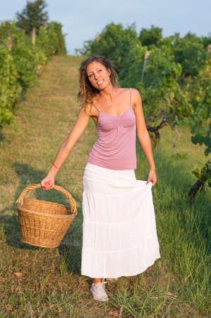 wicker work: Attractive happy brunnette girl in vineyard working on grape harvest with big wicker basket