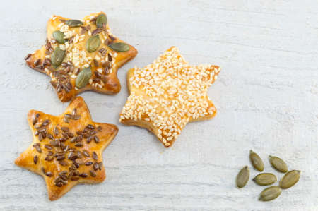 star shaped: Homemade star shaped pastry on white wooden table