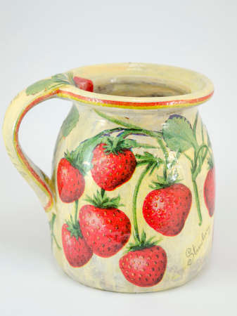 decoupage: Decoupage decorated clay strawberry pattern pitcher