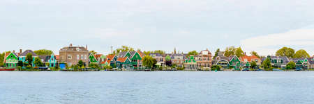 zaanse: Dutch houses panorama, Zaanse Schans, Netherlands