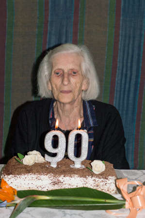 Grandma Celebrating Her 90th Birthday Stock Photo Picture And