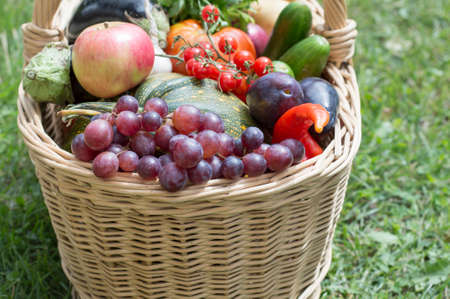 grass close up: Woden basket with fruit and vegetables on the grass close up Stock Photo