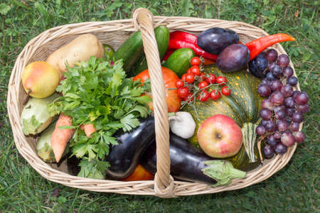 woden: Woden basket with fruit and vegetables on the grass