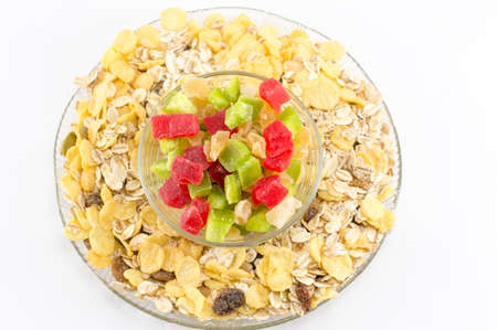 dried fruit: Muesli and dried fruit arranged in glass bowls Stock Photo