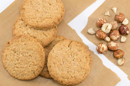 integral: Integral biscuits and natural fresh hazelnuts. Healthy dessert