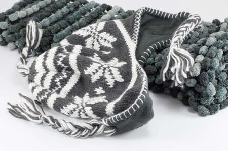 fabric texture: Wool winter accessories ready for cold weather