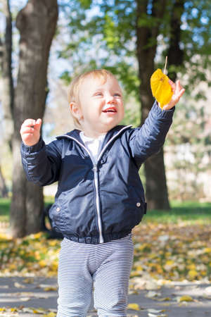 one year: Cute one year old baby girl playing with a autumn leaf in a park