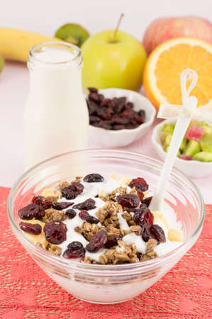 macrobiotic: Healthy and fresh macrobiotic breakfast with cereals and milk Stock Photo