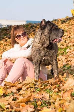 cane corso: Girl and her Cane Corso dog enjoying sunny autumn day in the park