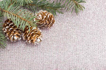 Piine cones decoration and fir tree on sparkling background Banco de Imagens