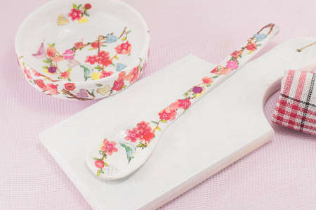 decoupage: Homemade decoupage decorated kitchen tools with flower pattern