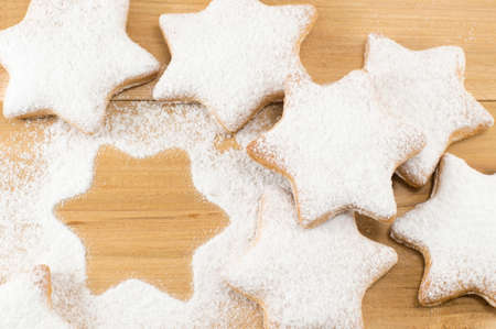 Home baked and shaped sweet Christmas cookies dessert