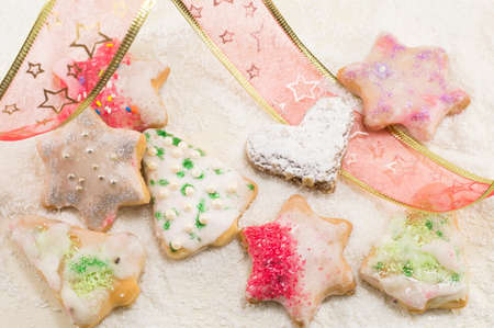 star shaped: Star shaped Christmas cookies and decorative tape on the table