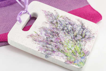 decoupage: Decoupage decorated kitchen  tray with flower pattern Stock Photo