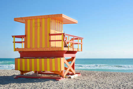 florida house: orange and yellow lifeguard house in Florida Stock Photo