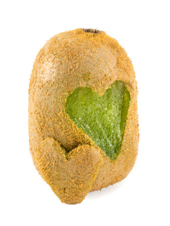 kiwis: kiwis with heart shapes carved into its skin isolated Stock Photo