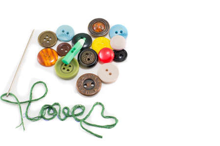 love abstract: heart made out of colorful buttons