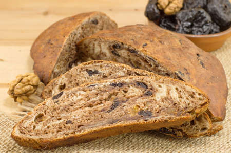 dried plums: homemade bread made out of dried plums Stock Photo