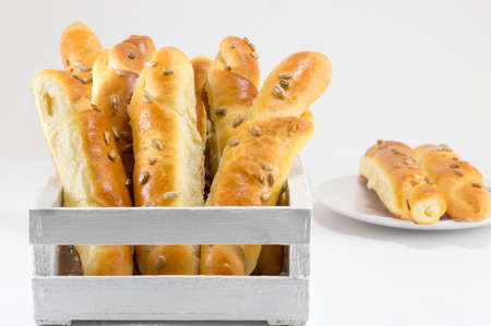 sinterklaas: sesame pastry in a white crate isolated Stock Photo