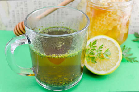 Tea with parsley, lemon and honey. Healthy beverage Stok Fotoğraf - 53063848