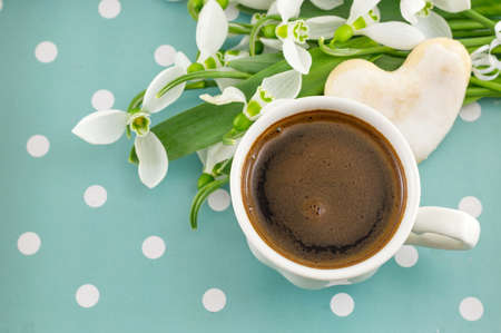 changing seasons: Cup of coffee with fresh snowdrops Stock Photo