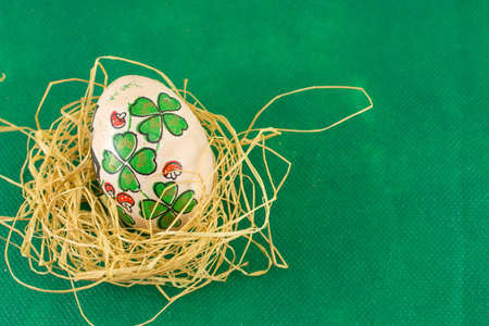 patrics: St. Patrics day inspired decoupage decorated Easter eggs Stock Photo