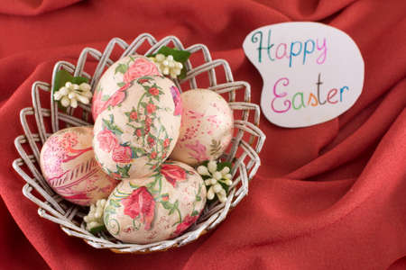background patterns: Happy Easter card with decoupage decorated Easter eggs