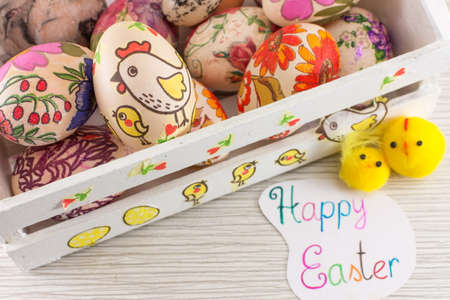 decoupage: Decoupage decorated Easter eggs in decorated white wooden box