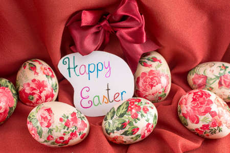 soft background: Happy Easter card with decoupage decorated Easter eggs