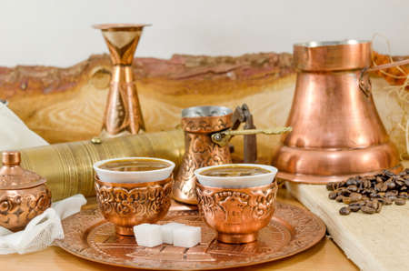 Copper plates and coffe cups collection