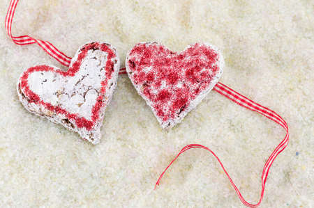 shaped: Couple of decorated heart shaped cookies