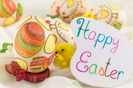 decoupage: Chicken decoupage decorated Easter eggs