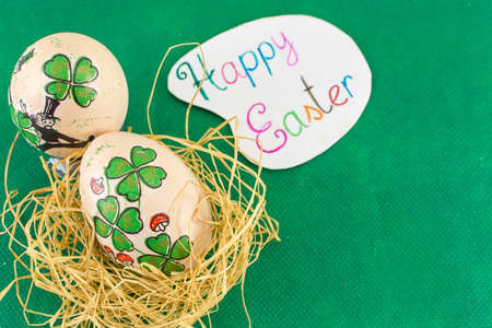 patrics: St. Patrics day inspired Easter eggs happy Easter card with decoupage decorated Easter eggs