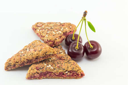 Integral biscuits with fresh cherry