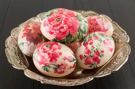 shinny: Decorated Easter eggs on a shinny plate Stock Photo