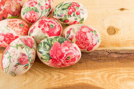 decoupage: Decoupage decorated Easter eggs on the table