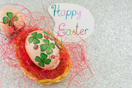 irish easter: Happy Easter card with clover decoupage decorated Easter eggs