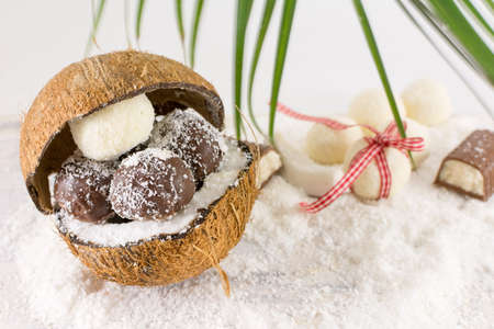 grounded: Fresh coconut and homemade coconut cookies on top of grounded coconut
