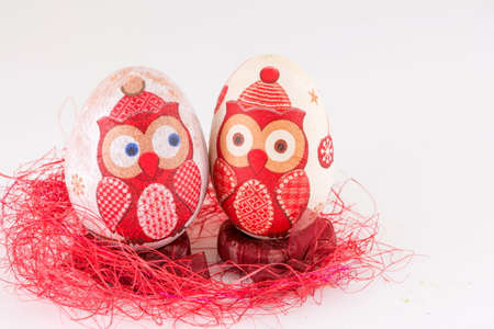 decoupage: Owl decoupage decorated Easter eggs