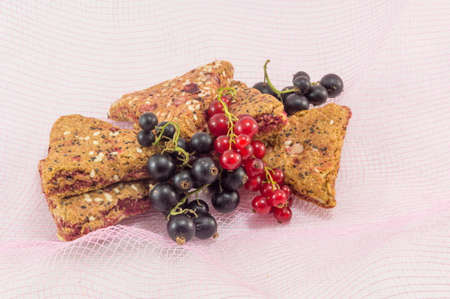 integral: Bunch of integral fruit biscuits with fresh fruit