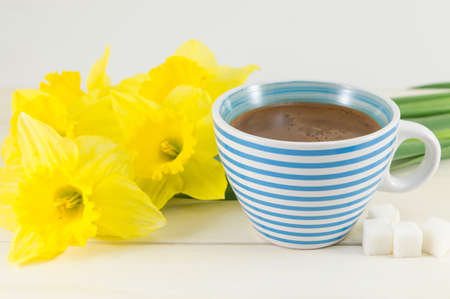 yellow to drink: coffee with daffodils  on a table Stock Photo