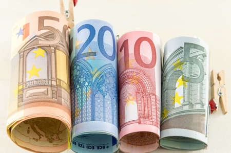 rolled: Rolled up euro bills