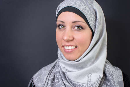 religious clothing: Portrait of beautiful muslim woman in hijab smiling