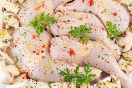 greased: Raw chicken wings covered with spices and ready for cooking Stock Photo
